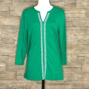 Lands' End green embroidered top